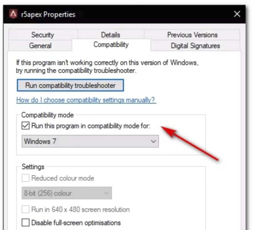 Executing  R5apex.exe File  In Compatibility Mode